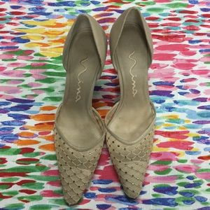 Nina Beige High Heels with Rhinestones